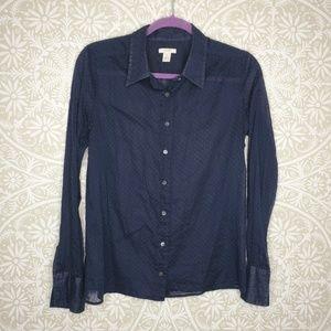 J. Crew Blue Swiss Dot Button Down Shirt 198V17